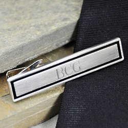 Personalized Black Border Tie Clip