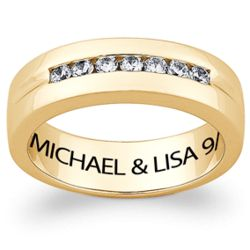 Men's 10 Karat Gold Cubic Zirconia Engraved Name Wedding Band