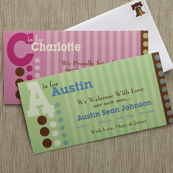 Alphabet Name Personalized Birth Announcements