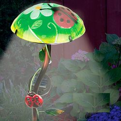 Handpainted Ladybug Solar Mushroom Stake