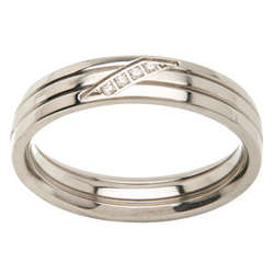 Men's Titanium Polished Band with Cubic Zirconia