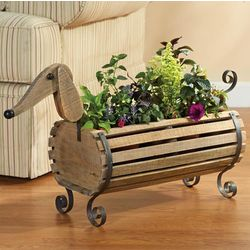 Pinewood and Iron Dachshund Planter