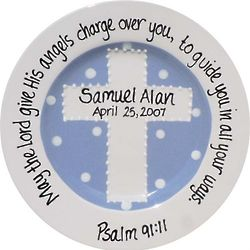Baby's Personalized Periwinkle Cross Christening Plate