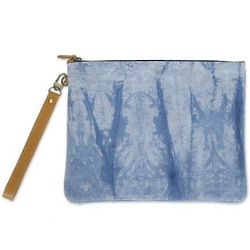 Blue Trees Tie-Dyed Cotton Wristlet