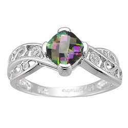 Diamond & Mystic Topaz Ring in 14K White Gold