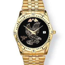 14k Gold Plated Men's Diamond Accent Eagle Watch