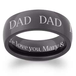 Black Stainless Steel Dad Engraved Message Band