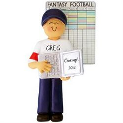 Male Fantasy Football Personalized Christmas Ornament