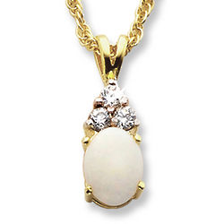 Opal and Cubic Zirconia Solitaire Pendant