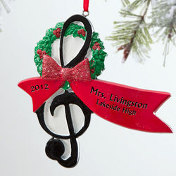 Personalized Treble Clef Christmas Ornament for Musicians