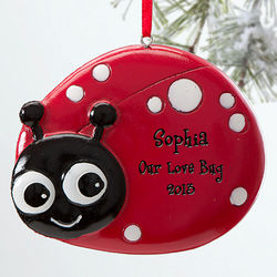 Girl's Little Ladybug Personalized Ornament