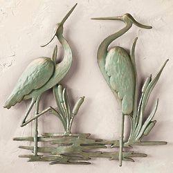 Great Blue Herons Cast Aluminum Wall Plaque