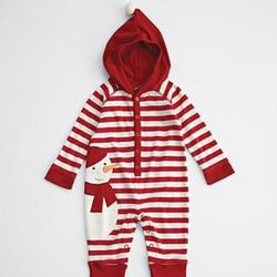 Red Snowman Character Baby Long Johns
