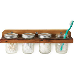 Mounted Wooden Wall Caddy with Mason Jars