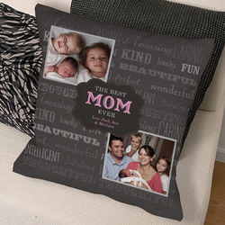 Personalized Best Mom Photo Throw Pillow