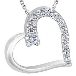 12 Diamond Heart Pendant in 14 Karat Gold