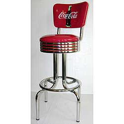 "Coca-Cola Logo ""Bullseye"" Barstool with Back"