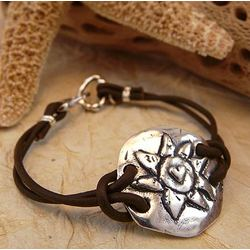 Dawn Sterling Silver and Leather Bracelet