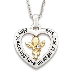Two-Tone Angel Heart Pendant
