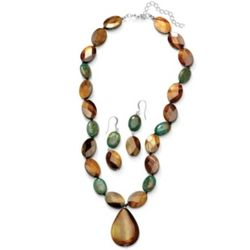 Silver Tone Jasper and Shell Necklace and Pierced Earring Set
