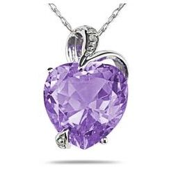 Amethyst and Diamond Heart Pendant in 14K White Gold