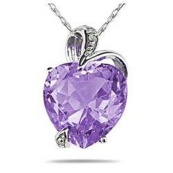 Amethyst and Diamond Heart Pendant in 14K White Gold