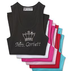 Personalized Rhinestone Tank with Crown