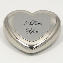Imprinted Silver Heart Paperweight