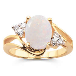 Opal and Cubic Zirconia Solitaire Ring