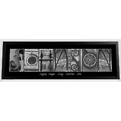 Personalized Urban Alphabet III Black and White Framed Print
