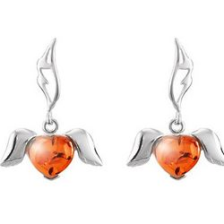 Baltic Amber Sterling Silver Winged Heart Earrings
