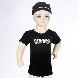 Baby's Black Double Trouble Beanie Cap and Bodysuit