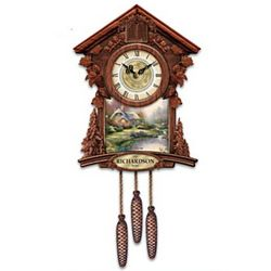 Personalized Cuckoo Clock with Thomas Kinkade Art Plaques