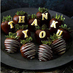 Thank You Hand Dipped Dark Chocolate Covered Strawberries
