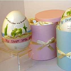 Personalized Nest Egg Bank with Hat Box