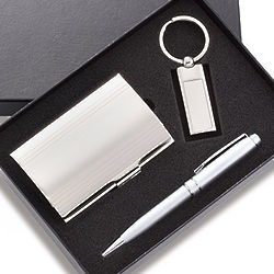 Personalized Silver Pen, Business Card Case & Key Ring Gift Set