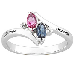 Personalized Sterling Silver Couple's Marquise Birthstone Ring