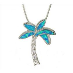 Tiffany Inspired Opal and CZ Palm Tree Pendant
