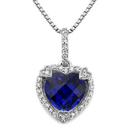 Created Sapphire and Diamond Birthstone Heart Pendant
