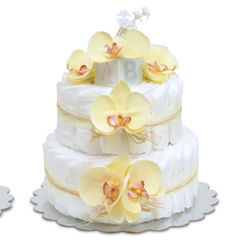 Yellow Orchids with Natural Raffia Diaper Cake