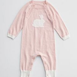 Pink Bunny Cashmere Blend Baby Long Johns