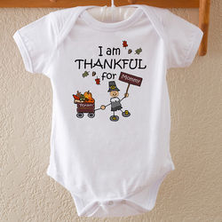 Thanksgiving Pilgrim Personalized Baby Bodysuit