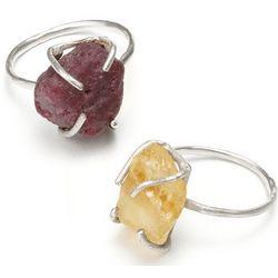 Ruby or Citrine Raw Gemstone Ring