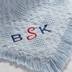 Sky Blue Baby Blanket with Embroidered Monogram