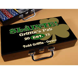 Personalized Gold Shamrock Poker Set