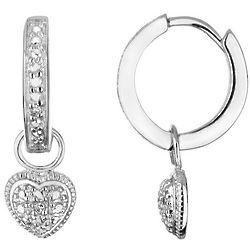 Heart Hoop Earrings with Diamonds in Sterling Silver