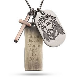 Personalized Brass Jesus Pendant
