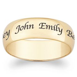 Gold Over Sterling Wide Top-Engraved Family Name Band