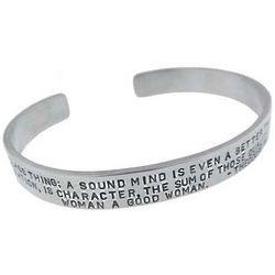 Mens Inspirational Quote Wide Silver Bracelet
