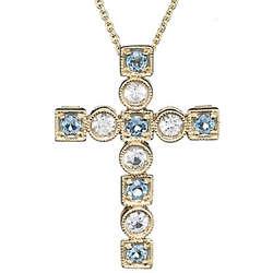 Aquamarine & White Sapphire Cross Pendant